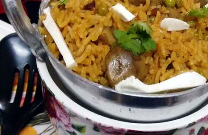 Matar Mushroom Biryani Recipe